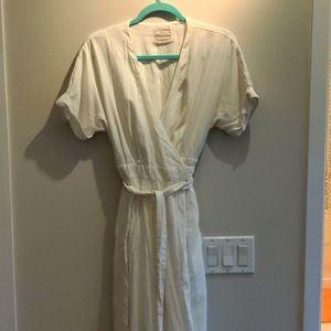 Linen blend wrap dress